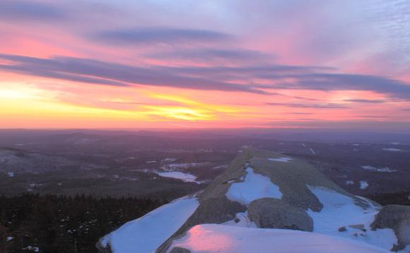 Mount Monadnock Winter Sunset from Bald Rock CR