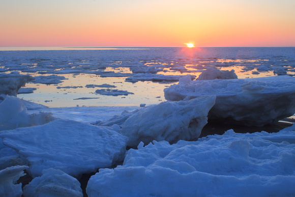 Cape Cod Bay Ice Great Hollow Beach Sunset March 2015