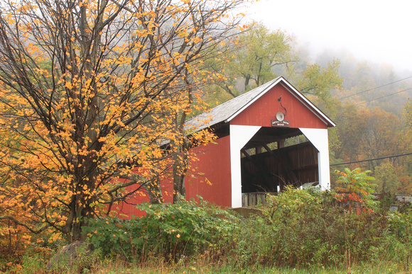 Arthur Smith Covered Bridge Colrain Autumn Fog