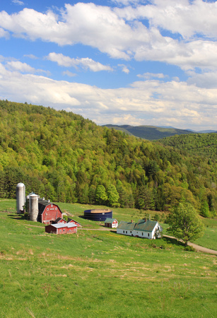Barnet Vermont Farm in Hollow in Summer