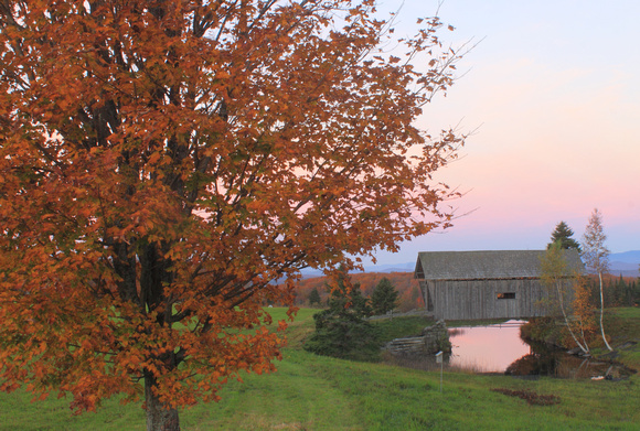 A M Foster Covered Bridge Cabot Autumn Morning cr